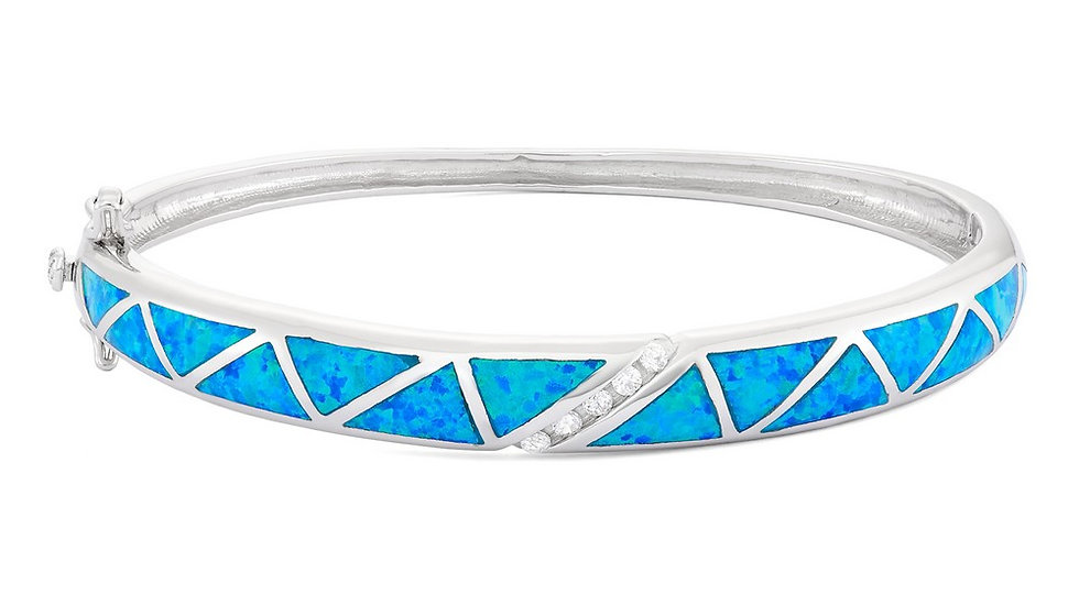 Sterling Silver CZ And Blue Inlay Opal Bangle