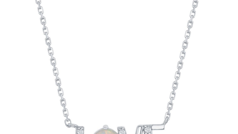 Sterling Silver CZ and White Opal 'Love' Necklace