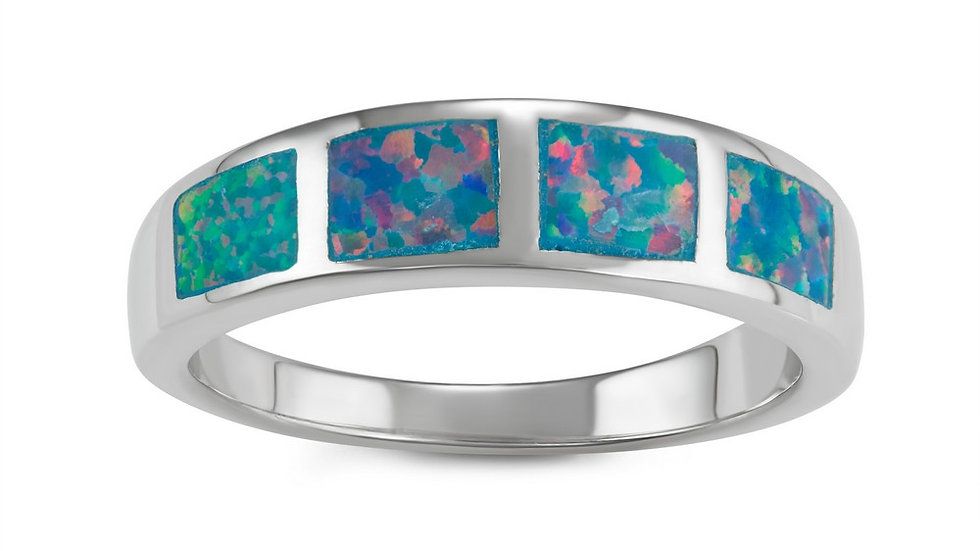 Opal inlay in Sterling band