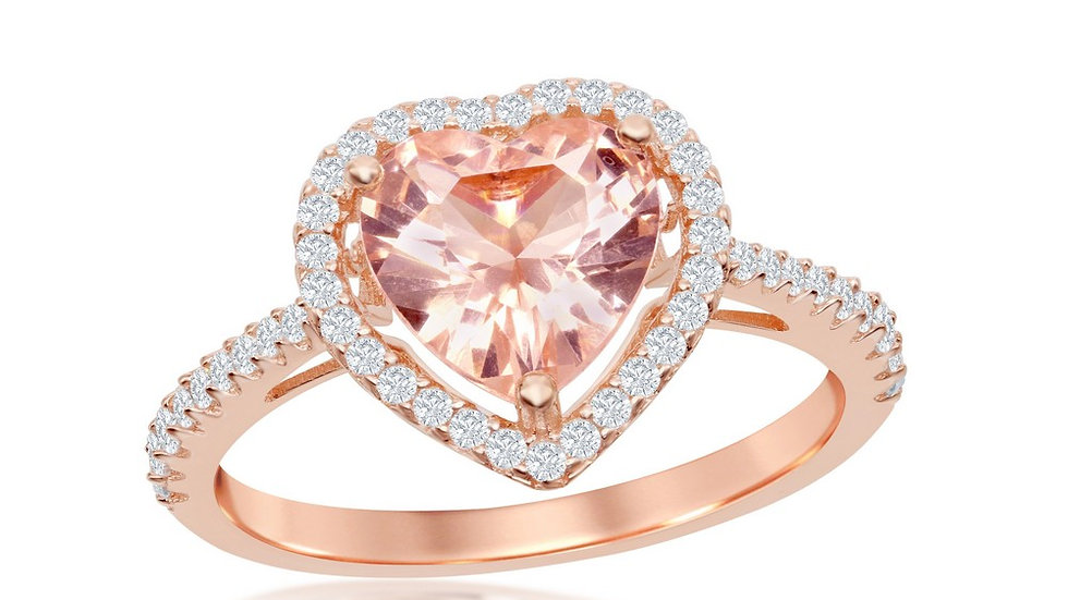 Sterling Silver Heart Morganite CZ with White CZ Border Ring