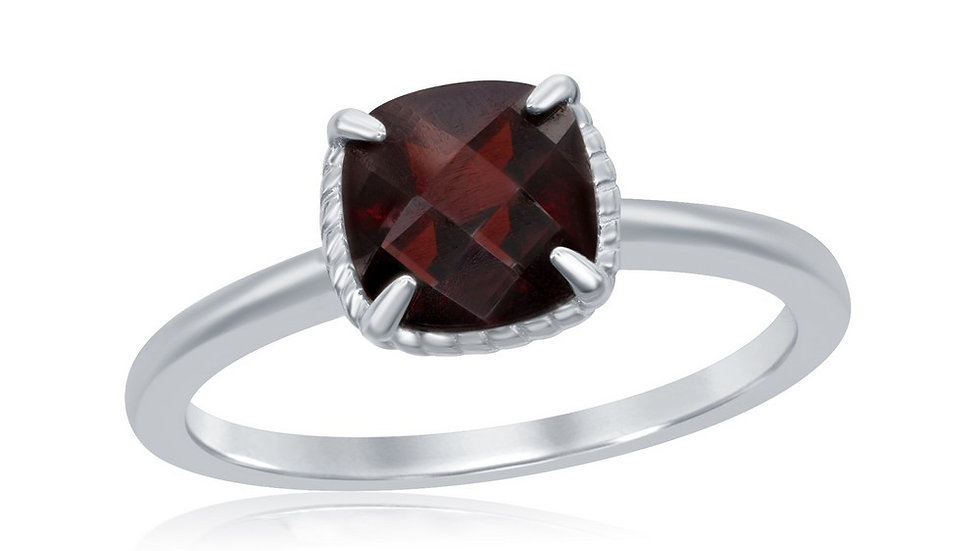 Sterling Silver Four-Prong Square Garnet Rope Design Border Ring