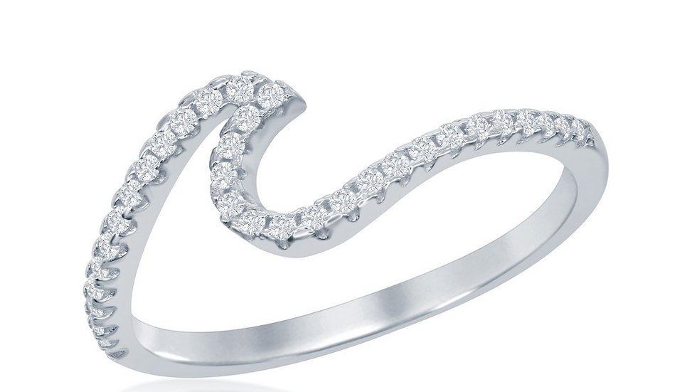 Sterling Silver Cubic Zirconia Wave Design Ring