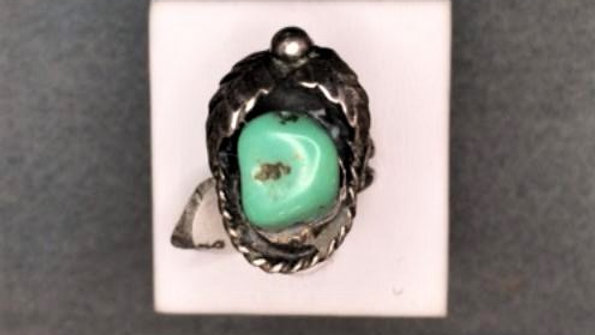 Native American Handcrafted ring, Green Turquoise