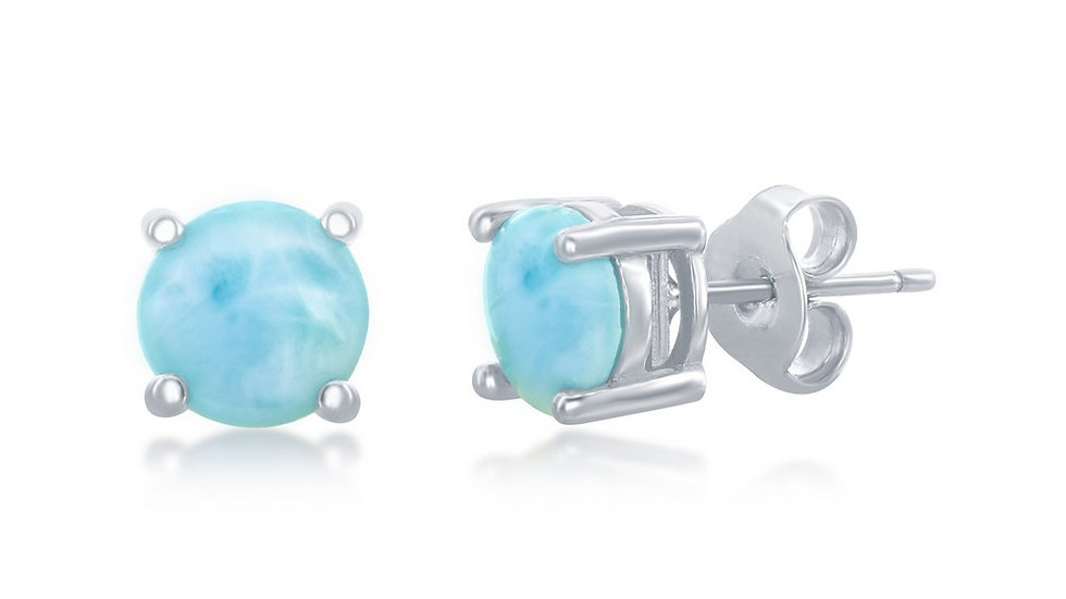 Sterling Silver 6mm Larimar Stud Earrings