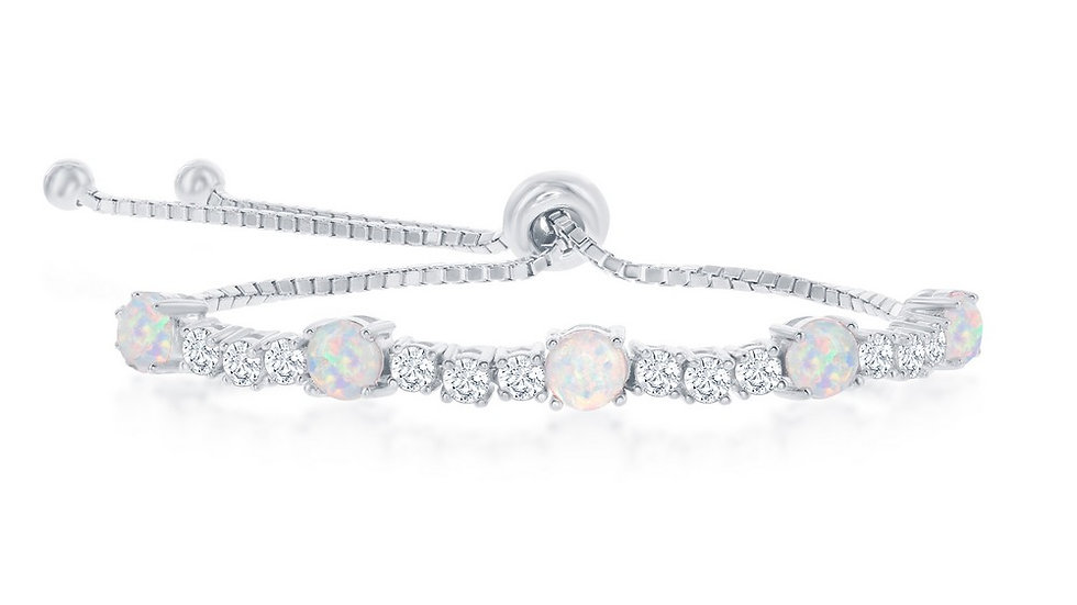 Sterling Silver Alternating Four-Prong CZ & White Opal Adjustable Bolo Bracelet