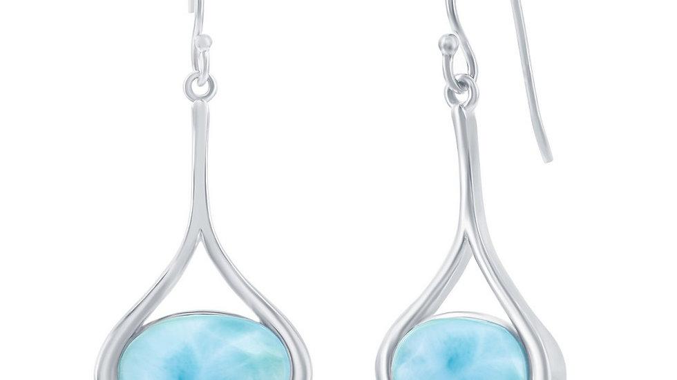 Sterling Silver Long Oval Larimar Dangling Earrings
