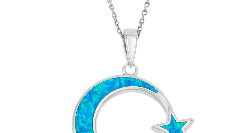 Opal inlay in Sterling Moon and Star