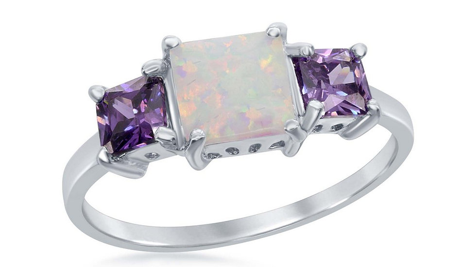 Sterling Silver Four-Prong Triple Square White Inlay Opal w/ Amethyst CZ Ring