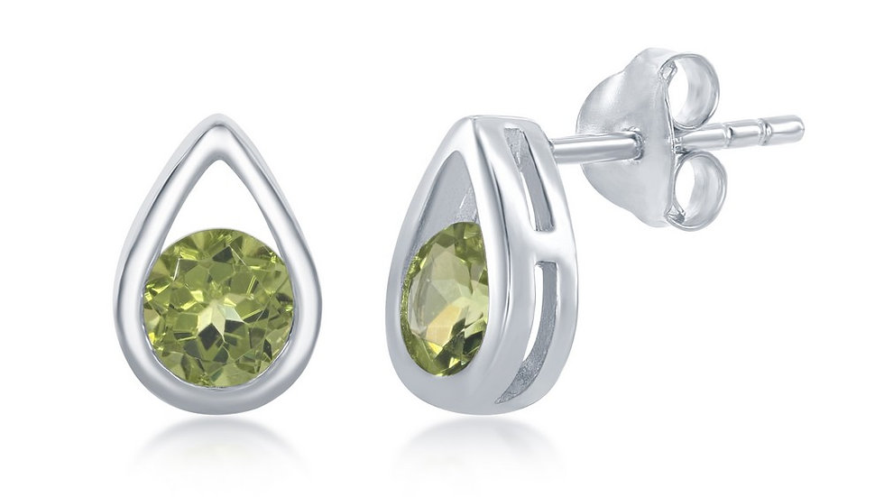 Sterling Silver Open Pearshaped Round Peridot Stud Earrings