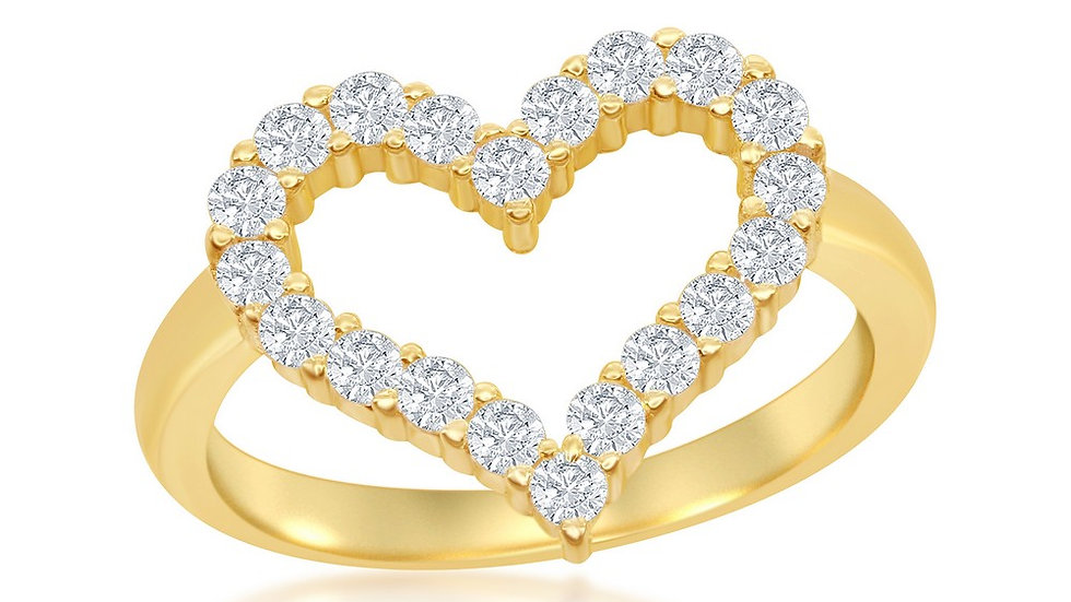 Sterling Silver Gold Plated Open Heart Cubic Zirconia Ring