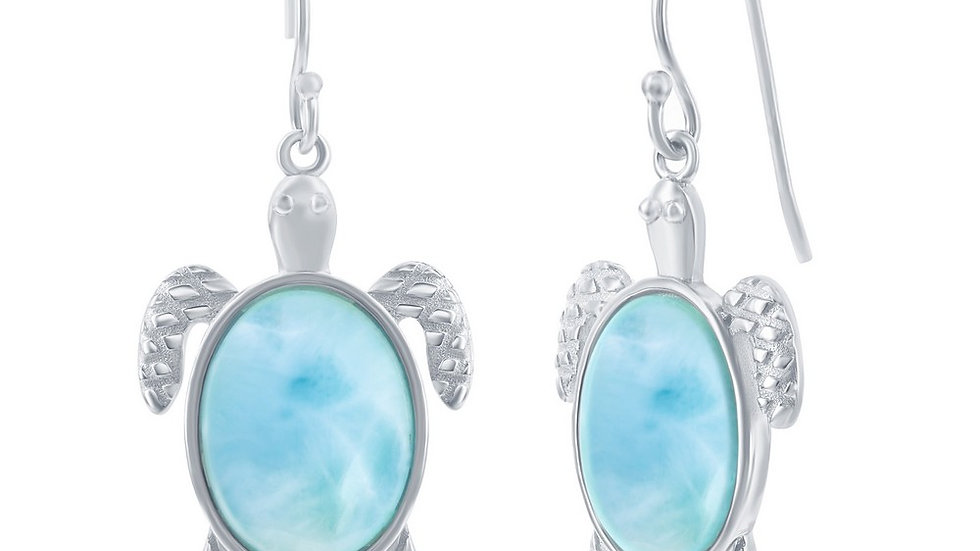 Sterling Silver Larimar Turtle Earrings