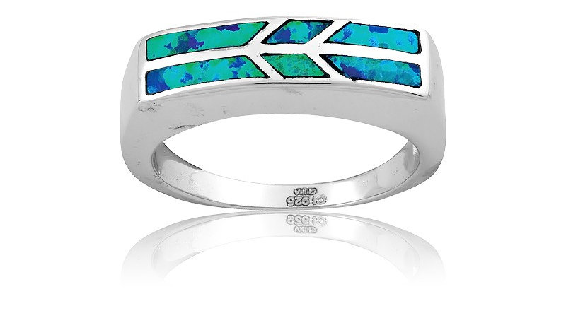 Opal inlay in Sterling Flat top ring