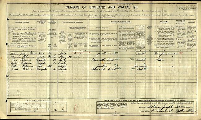 1911 England Census William Joseph Robinson; spouse: Emma Robinson. Children: Amy. Residence: Aston Manor. Warwickshire, England