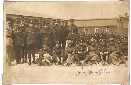 """Officers & Staff of No8 Mob Coy MIASC taken at Bulford. 2/7/1918 Salisfury Plain"""