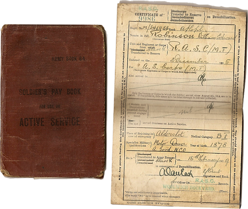 William Edward Robinson Soldier Pay Book