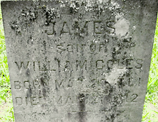 gravestone of James son of William Coles Scotch Plains NJ
