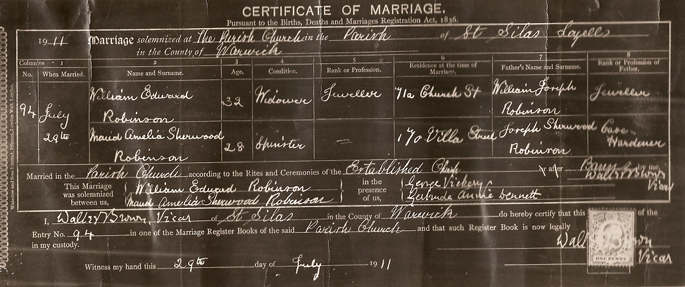 William Edward Robinson Marriage Certficate