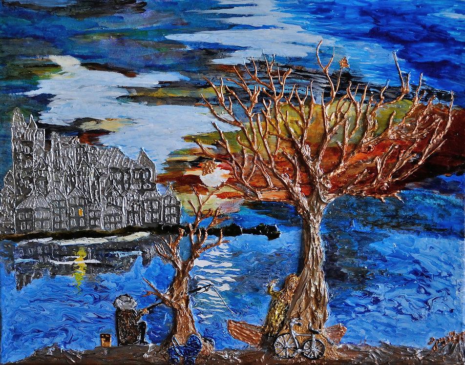 100 years of solitude. Maya Gavasheli 2016. Enamel and resin on canvas.