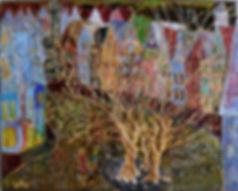 "Just 5 more minutes, mom! 20"" x 16"" Maya Gavasheli 2015. Enamel and resin on stretched canvas. http://www.mayagavasheli.com"
