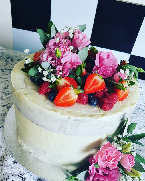 Naked Birthday Cake with Fruit & Flowers
