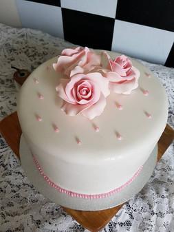 Elegant Pink Christening Cake