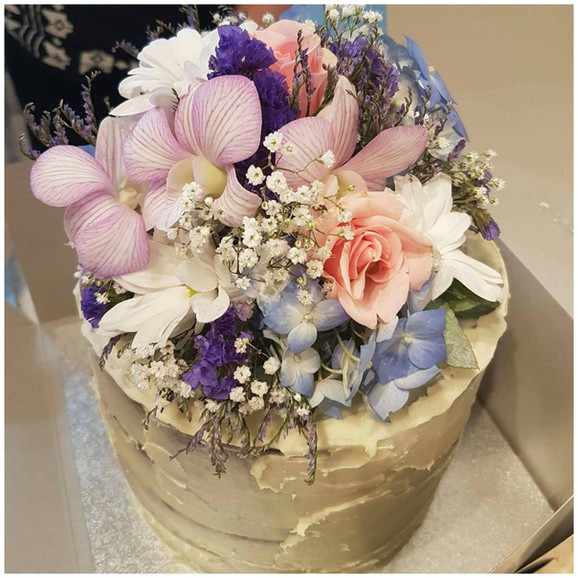 Engagement Cake with Flowers