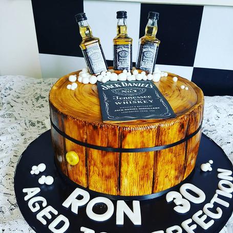 Jack Daniels Themed Birthday Cake