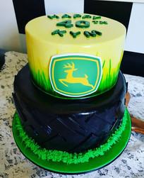 John Deer Tractor Tyre Themed Birthday Cake
