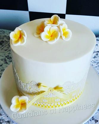 Frangipani Engagement Cake