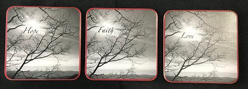 "4""x4"" Coasters - Set of 3, b/w, Faith-Hope-Love red border"