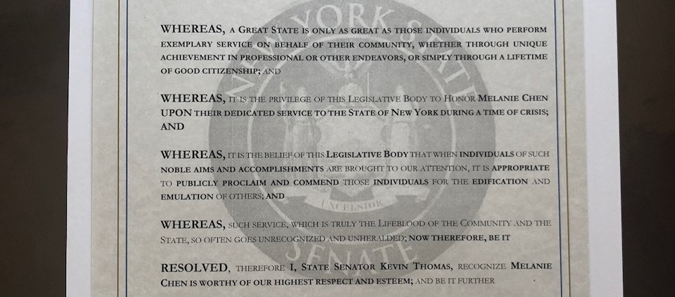 Senator Kevin Thomas Citation to Melanie Chen