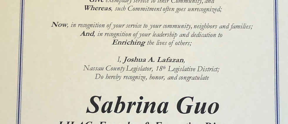 Nassau County Legislature Proclamation of Citation to LILAC/Sabrina Guo