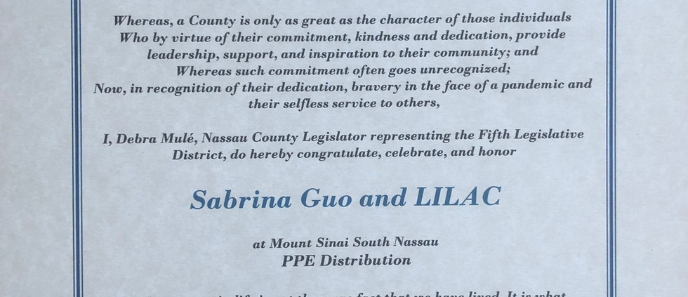 Nassau County District 5 Legislator Citation