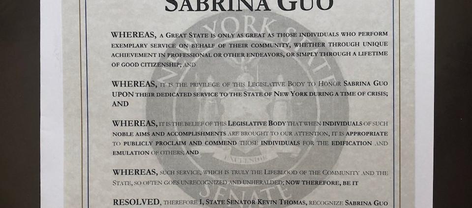 Senator Kevin Thomas Citation to Sabrina Guo
