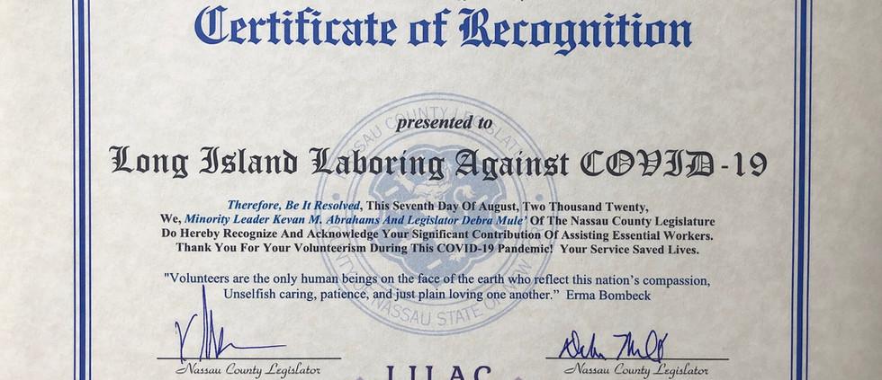 Nassau County Legislature's Certificate of Recognition