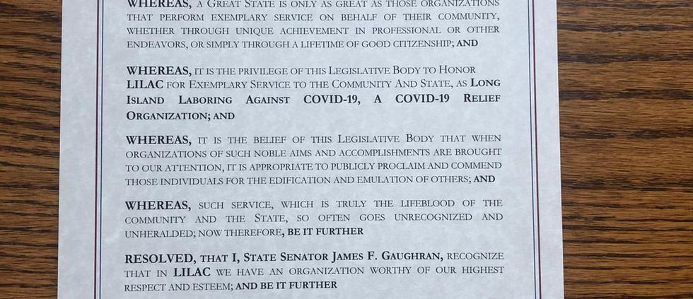 A Proclamation from Senator James F. Gaughran