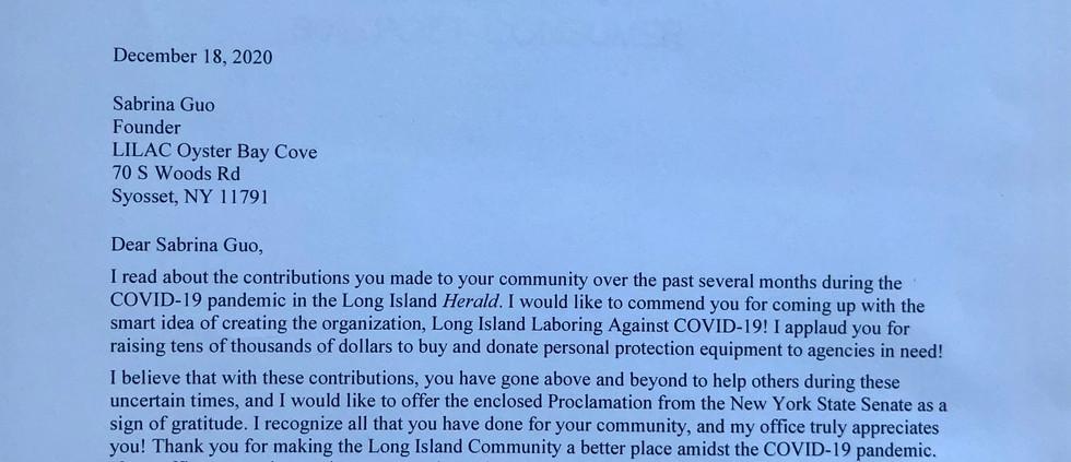 Senator Jim Gaughran's Thank You Letter