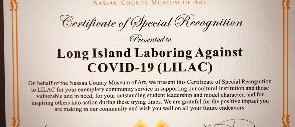 Certificate of Special Recognition from the Nassau County Museum of Art