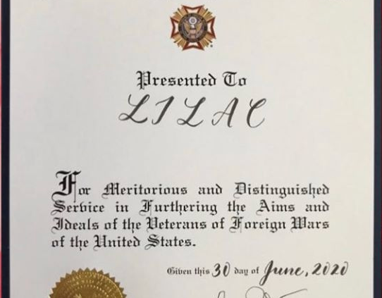 Award from the Veterans of Foreign Wars