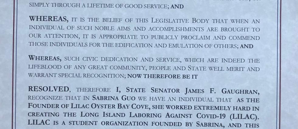 Senator Jim Gaughran Citation to Sabrina Guo