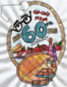 "A drawig of pizza and ingredients with the words ""Chi-Chi's Pizza 60th Anniversary"""