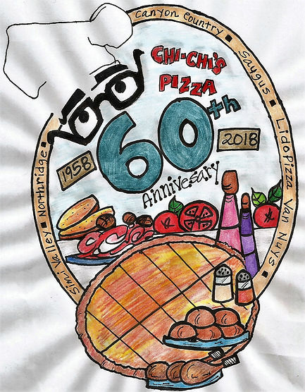 """A drawig of pizza and ingredients with the words """"Chi-Chi's Pizza 60th Anniversary"""""""