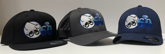 Three Chi-Chi's hat with the Chi-Chi's 60th Anniversary logo: Black, Gray, and Blue