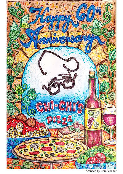 """A drawing of pizza, spaghetti, salad, and wine with the words """"Happy 60th Anniversary Chi-Chi's Pizza"""""""