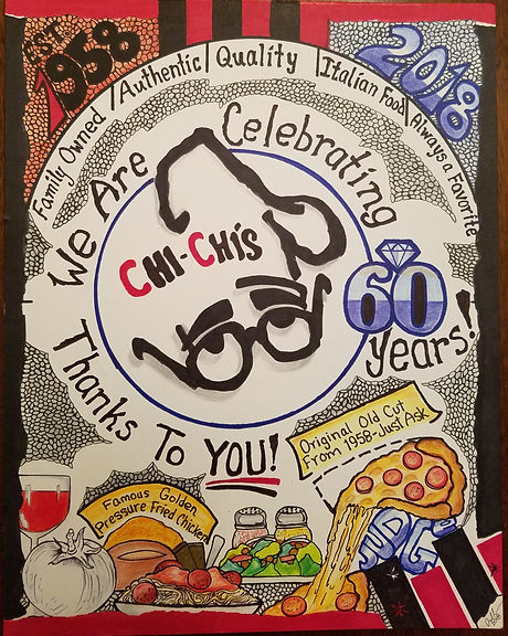 """A drawing of Chi-Chi's spaghetti, chicken, salad, and pizza with the words """"Family Owned, Authentic, Quality, Italian Food, Always a Favorite. We are celebrating 60 years thanks to you"""""""