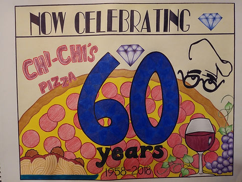 """A drawing of a pizza, spaghetti and wine with the words """"Now Celebrating"""""""