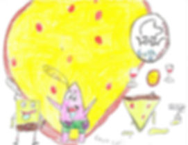A drawing of pizza with Spongbob and Patrick from the show Spongebob.