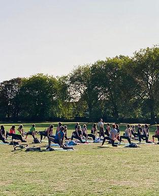 One of Terri's yoga classes in Lammas Park
