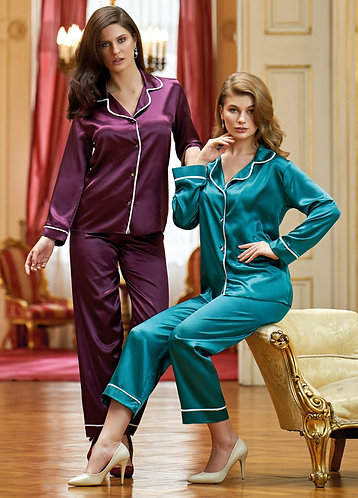 Nurteks Women's Silky Satin Pajama Set Sleepwear Collar Neck