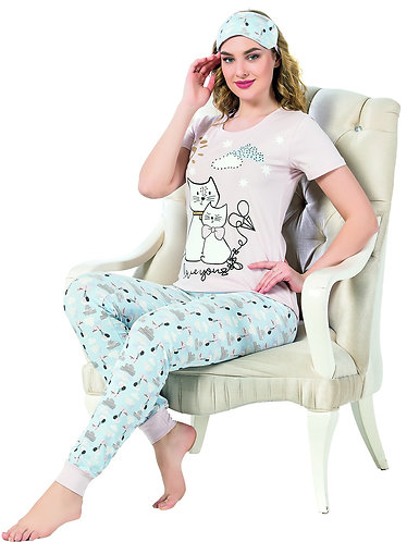 Boyraz Women's Top and Pants Pajama Set with Eye Mask